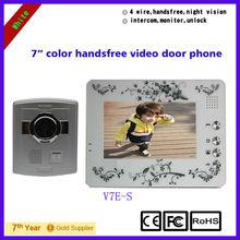 Free shipping 4 wire 7 inch color handfree Elegant video door phone intercom systems V7E-S White
