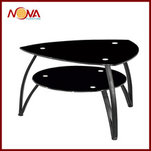 two layer black tempered glass coffee table