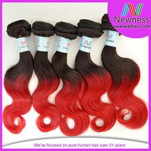 two tone human hair cheap brazilian unique color hair extensions