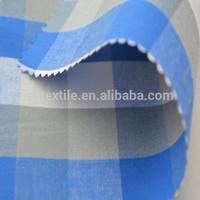 100% cotton shirting mercerizing blue and white checked fabric