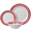 Plain white porcelain dinnerware with underglazed color