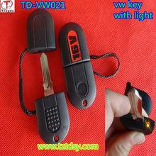 TD-VW021,VW plastic remote car key shell,transponder key case with light