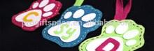 2015 new fashion hotsale eco-friendly diy crafts designs wholesale China fabric handmade pattern felt custom paw print keychain