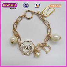 Enamel white rose charm letter charm bead bracelet/18k gold bracelet(31410)
