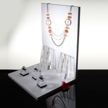 acrylic jewelry counter display stand with assembly white board