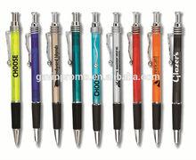 Swizzle retractable pen with wave clip