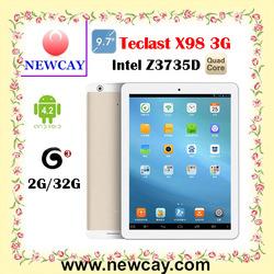 "Hot sell 9.7"" Teclast X98 3G Tablet PC Quad Core Intel Z3735D 1.8GHz Retina Screen 2GB 32GB Golden"