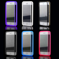 High Quality Candy Color Full Body 2 in 1 Touch Screen Slim Flip Soft TPU Girls Case for iphone 5C
