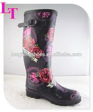 2014 rose flower design factory fashion women sexy rain boots rubber
