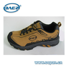 Camel color Leather men trekking shoe with printing design