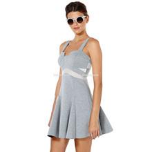Local contrast color light grey draping splicing wide condole skating dress dress bodycon dress