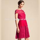 Costly wind stereoscopic lace eyelash lace satin stitching double short-sleeved dress china manufacturer