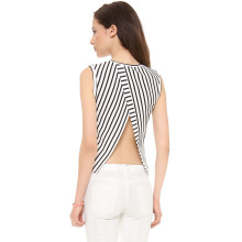 Tulip backless cut short stripe edge decorated with edge sleeveless knitted T-shirt fashion casual