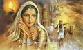 mujer hecha a mano de la india de la pintura para la decoración de la pared