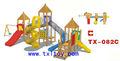 Madeira crianças Playground com plástico slides TX-082C