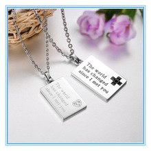Qi Nuan Jewelry Stainless Steel Square Engraved Word Custom Lover Pendant
