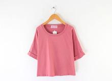 Rolled Short Sleeve T-shirt Custom Plus Size Women Clothing