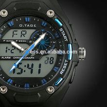 Men's Blue Rubber Digital Analog Dual Dial Sport Watch WS066