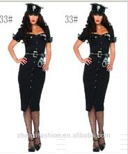 Sexy button design tight police women costume