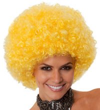 Wholesale Cheerleader Cheap Solid Yellow Curly Wig