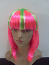 Wholesale Union Jack Glamourous Pink Green Stirped Beauty Wig