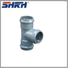 PVC fittings with rubber ring joint three faucet tee (DIN STANDARD ISO4422)
