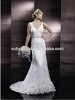 custom made turkish wedding dresses lace v-neck backless sweep train brush train