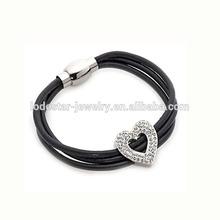 Genuine leather multi layer magnetic clasp stainless steel charms smart bracelet top smart bracelet expandable bracelet (LB3054)