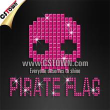 Pirate flag skull iron on custom fashion nailheads for clothing