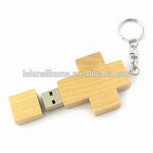 Fancy cross 512gb wooden usb flash drive, cross wooden usb with keychain, bamboo wooden usb drive