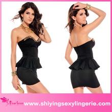Hot Sale Wholesale Black Fashion Wrapped Chest Mini Dress peplum wedding dress