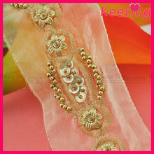wholesale fashion golden thread and sequin beaded sew on mesh clothing trim WTP-1203