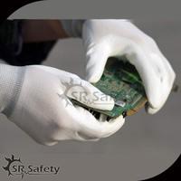 SRSafety 13G white nylon PU gloves/PU work gloves/electrical safety gloves in safety gloves