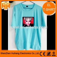Light blue 100% cotton tshirt LED t-shirt / EL equalizer tshirt