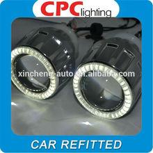 High Quality Car headlight 3.0 inch Bi-Xenon HID Projector Lens Kit with Double LED CCFL angel eyes