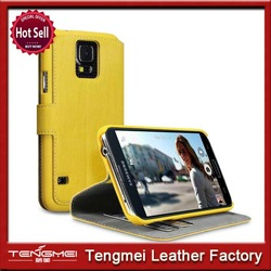 Low Profile PU Leather Wallet Case/Cover/Pouch/Holster with Card Holder for S5 - Yellow