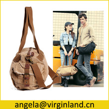 Fashion Leisure Ladies Cotton Canvas Tote Travel Duffel Bag With Double Long Handles