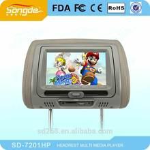 "High-tec 7 "" inch car headrest monitors/car dvd player"