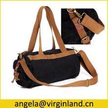 Black 16oz Heavy Cotton Waxed Canvas Waterproof Duffle Bag for Weekend Travel