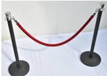 CROWD CONTROL STEEL BARRIERS WITH MATT BLACK POSTS AND CHROME TOPS
