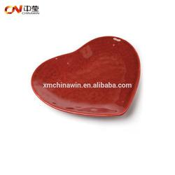 Red heart valentine's day ceramic dish plate