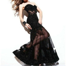 2014 New Long Black Applique Evening Ball Gown Formal Prom Party Dresses ED0268