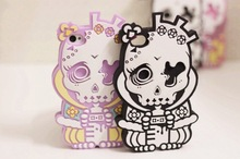 Colorful Skull Back Cover Soft Silicon Case For iphone 4 4S iphone 5 5G