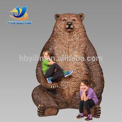 metal brown silly bear sculpture bronze, large bear for garden decor, animal brass sculptures wholesale