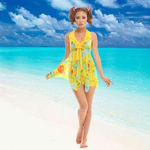 wholesale yellow printed one piece high quality swimwear sexi girls bodysuit