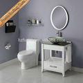 pequeñas de cuarzo blanco vanidad cuarto de baño con encimeras de lavabo de vidrio del gabinete