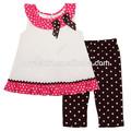 Casuales en verano los niños juegos de ropa de los niños gran& infantil niño niña vestido sin mangas& polainas lindo polka- punto leggings traje