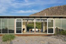 Latest designs aluminum veranda double sliding screen glass door