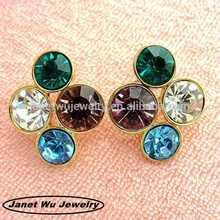 Fashion silver plating unique zinc alloy metal stud diamond earrings screw back