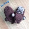 Brown Knitted Baby Boy Mitten Gloves Monkey Pattern